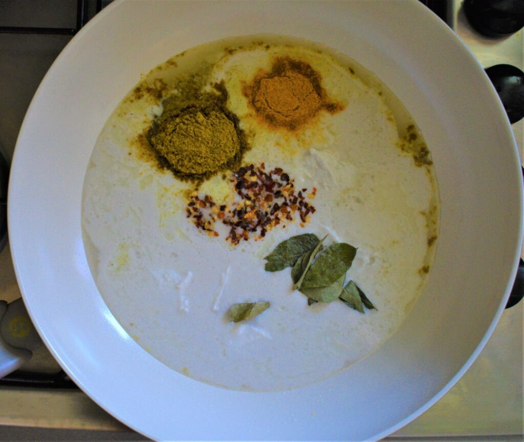 Cook the coconut milk curry sauce