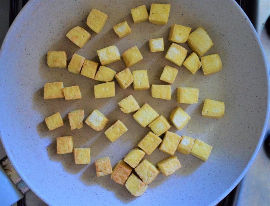 Tofu fried in vegetable oil