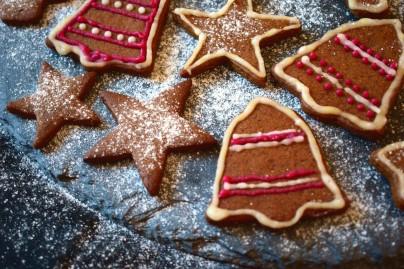 Christmas crispy gingerbread cookies