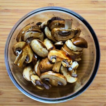 Mushrooms sauteed in soy sauce with garlic