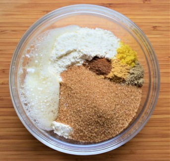 Carrot cake dry ingredients in a bowl