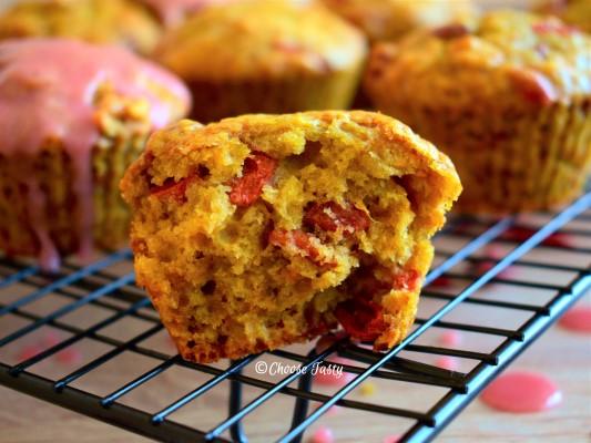 Halved goji berry blood orange muffin