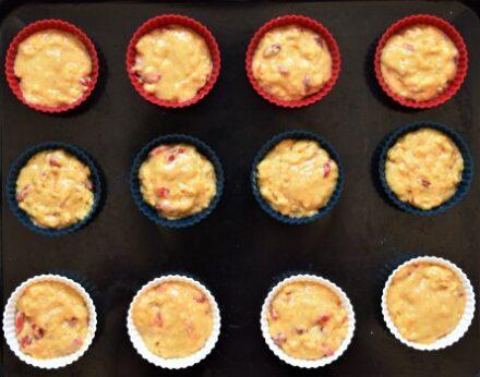 Goji berry orange muffins batter in molds