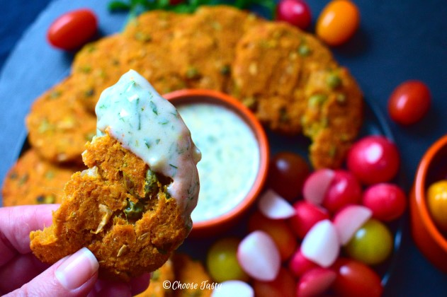 Sweet potato and green pea patty dipped in vegan ranch dressing