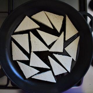 Pan fried tofu slices