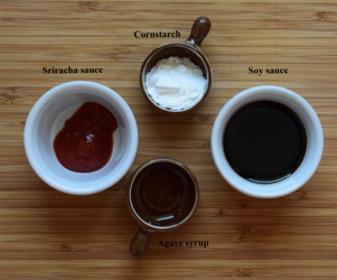 Sauce ingredients: soy sauce, cornstarch, sriracha, agave syrup