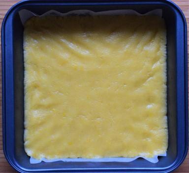 Shortbread dough in the baking tray