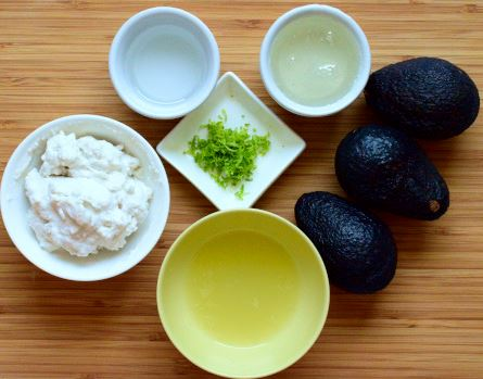 Filling ingredients: lime juice and zest, avocados, coconut cream, coconut oil, rice syrup