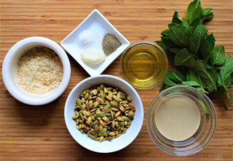 Pumpkin seeds pesto ingredients