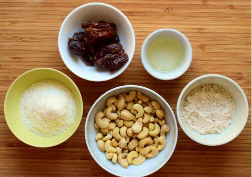Crust ingredients: cashews, desiccated coconut, oat flour, dates, coconut oil