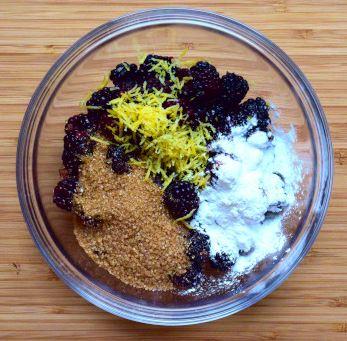Galette filling ingredients: blackberries, lemon juice & zest, sugar, cornstarch, vanilla extract
