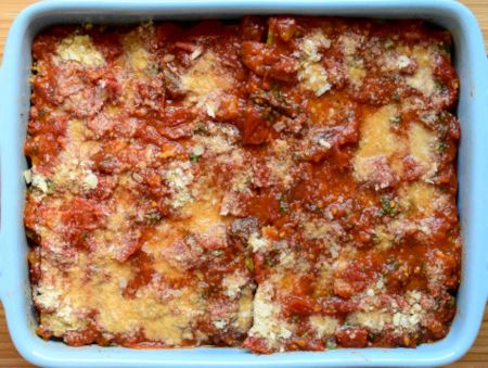 Minced tofu lasagne ready to bake