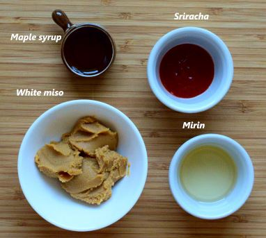 Glaze ingredients: white miso, mirin, maple syrup, sriracha