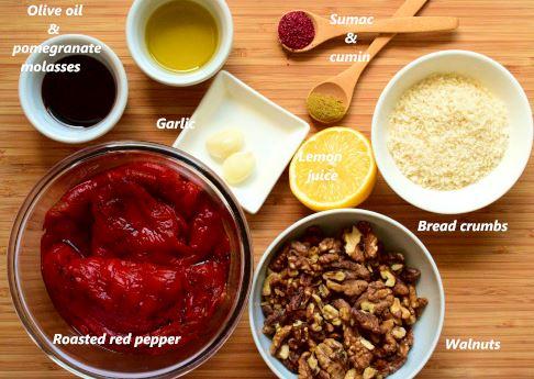 Muhammara ingredients: roasted red pepper, walnuts, olive oil, pamegranate molasses, garlic, bread crumbs, cumin, sumac, chili flakes