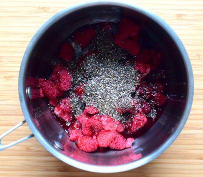 Jam ingredients: raspberries, chia seeds and rice syrup