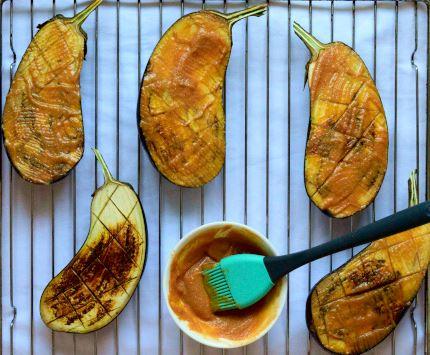 Eggplant brushed with miso glaze