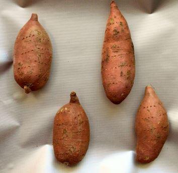 Sweet potatoes ready to bake