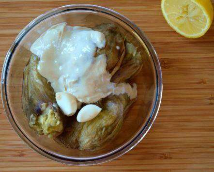Moutabal ingredients: roasted eggplants, tahini, garlic, lemon juice