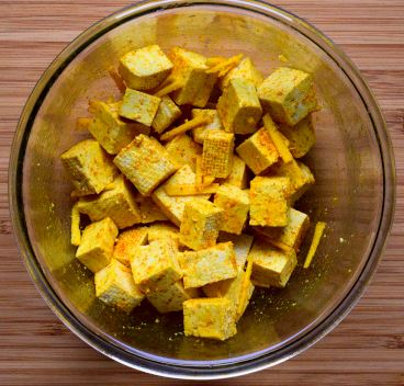 Tofu marinated with gnger and turmeric